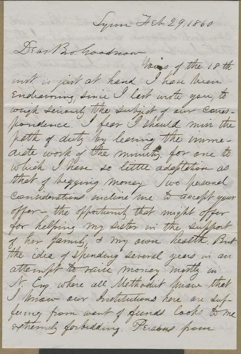 William R. Clark to Isaac Goodnow - p. 1