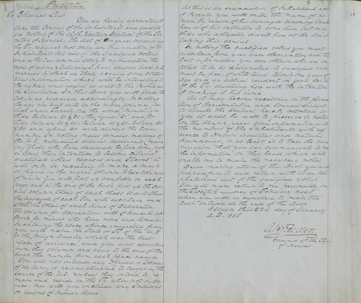 Territorial Census, 1855, District 16 - p. 1