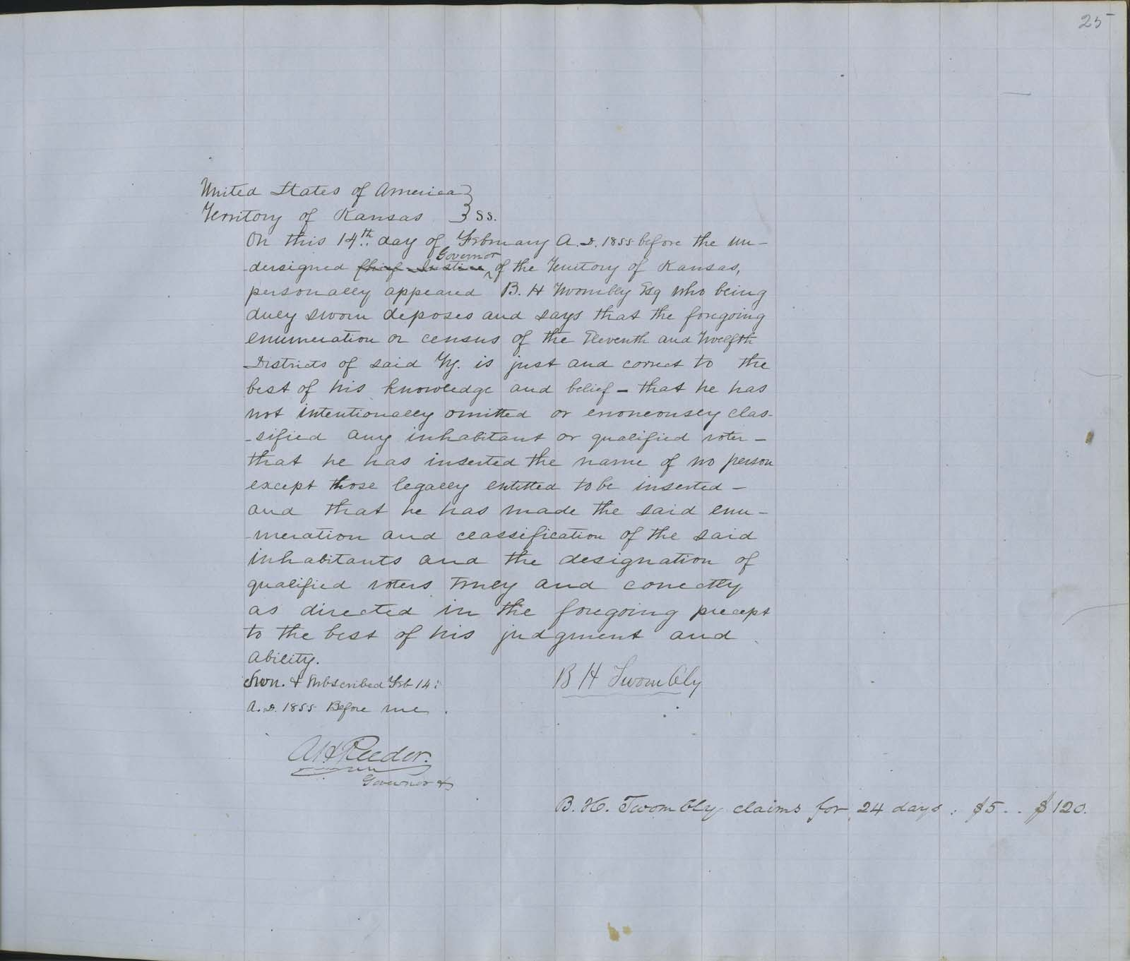 Territorial Census, 1855, District 11 - p. 5