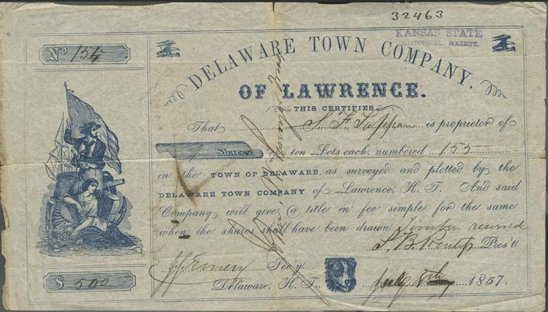 Stock Certificate, one share of Delaware City town lots