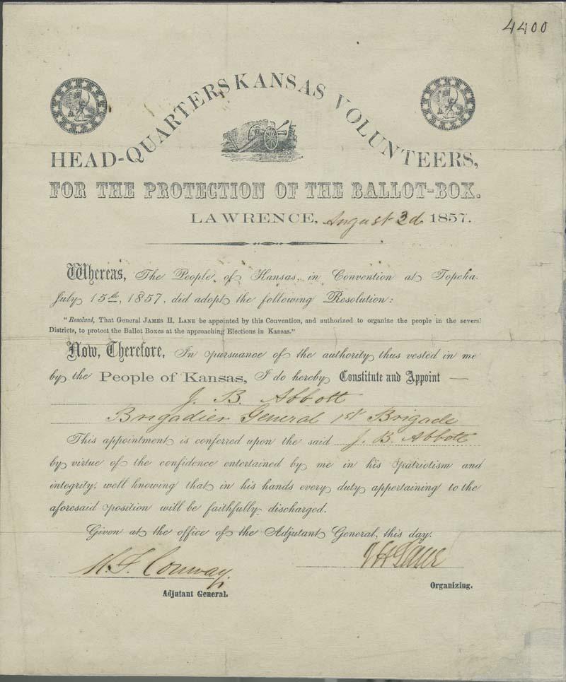 Certificate, James Abbott as Brigadier General