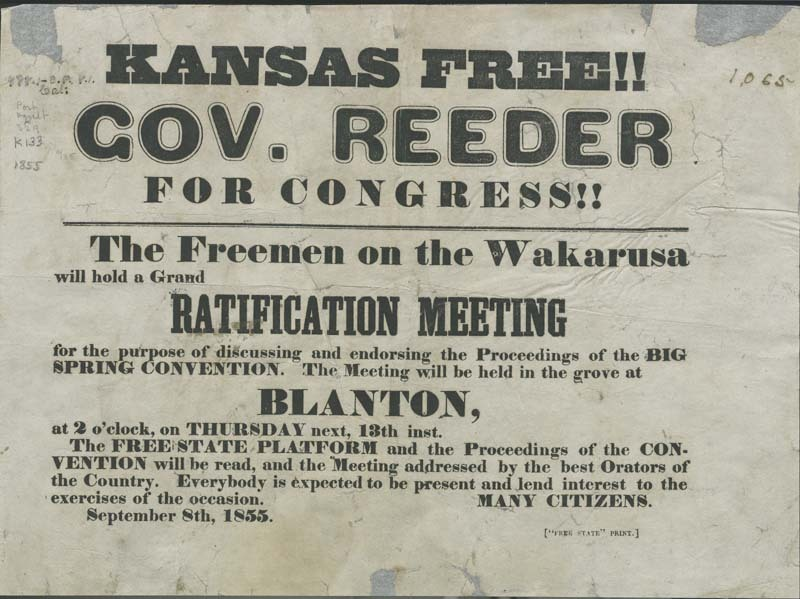 Kansas Free!! Governor Reeder For Congress!!