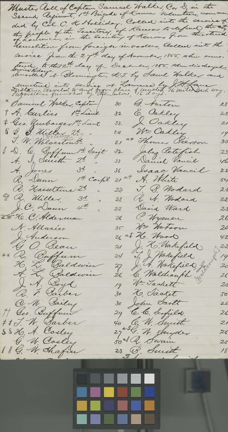Muster Roll of Captain Samuel Walker, Company D, Second Regiment, 1st Brigade, Kansas Volunteeers - p. 2