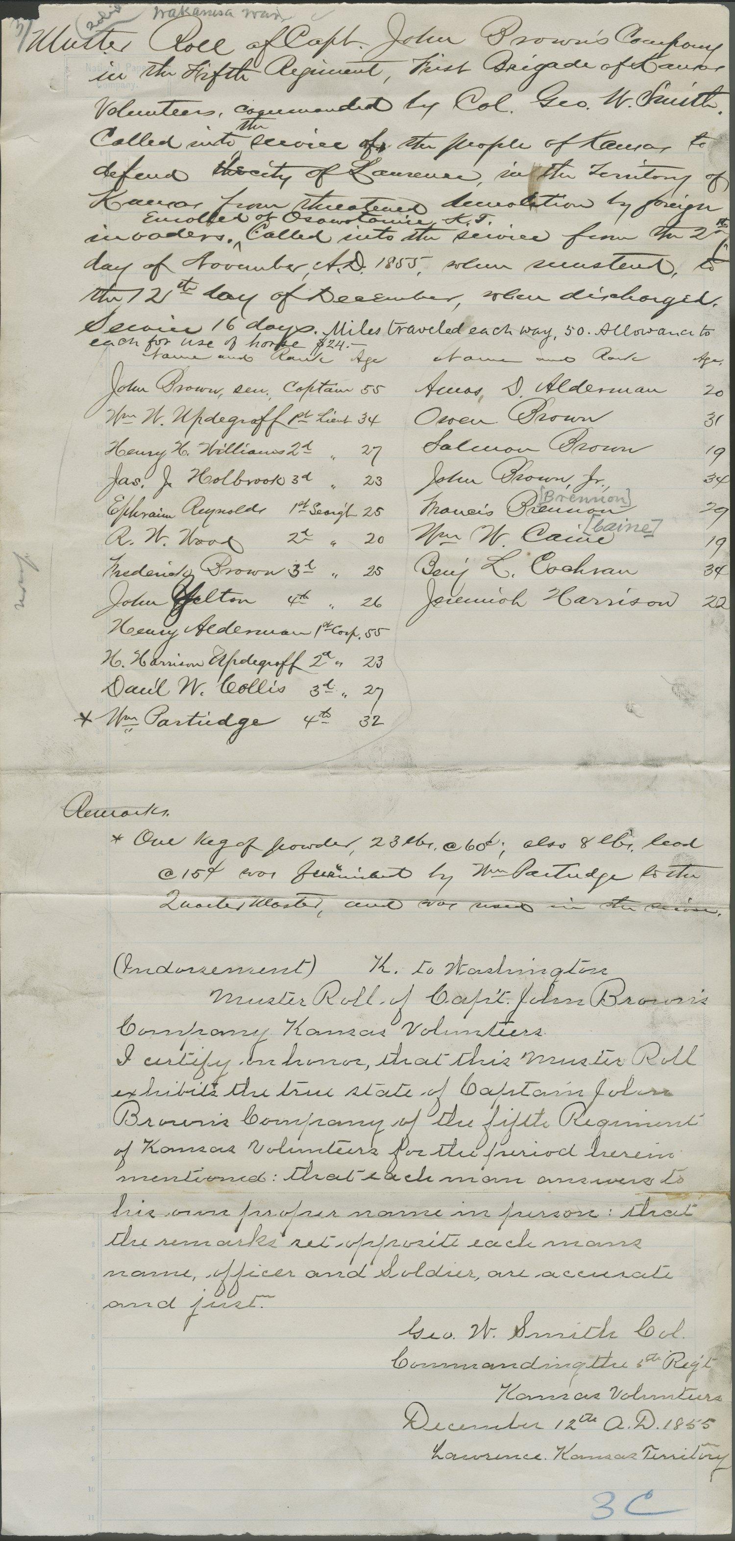 Muster Roll of Captain John Brown's Company, Fifth Regiment, 1st Brigade,  Kansas Volunteers