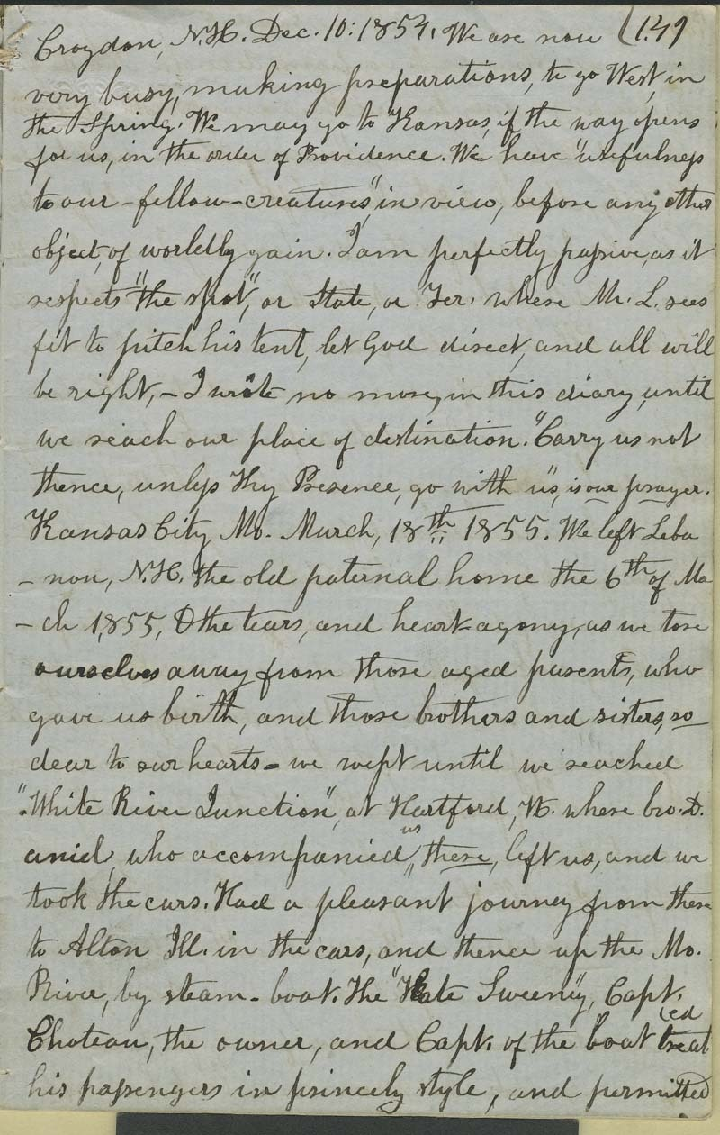 Julia Hardy Lovejoy's diary - p. 1