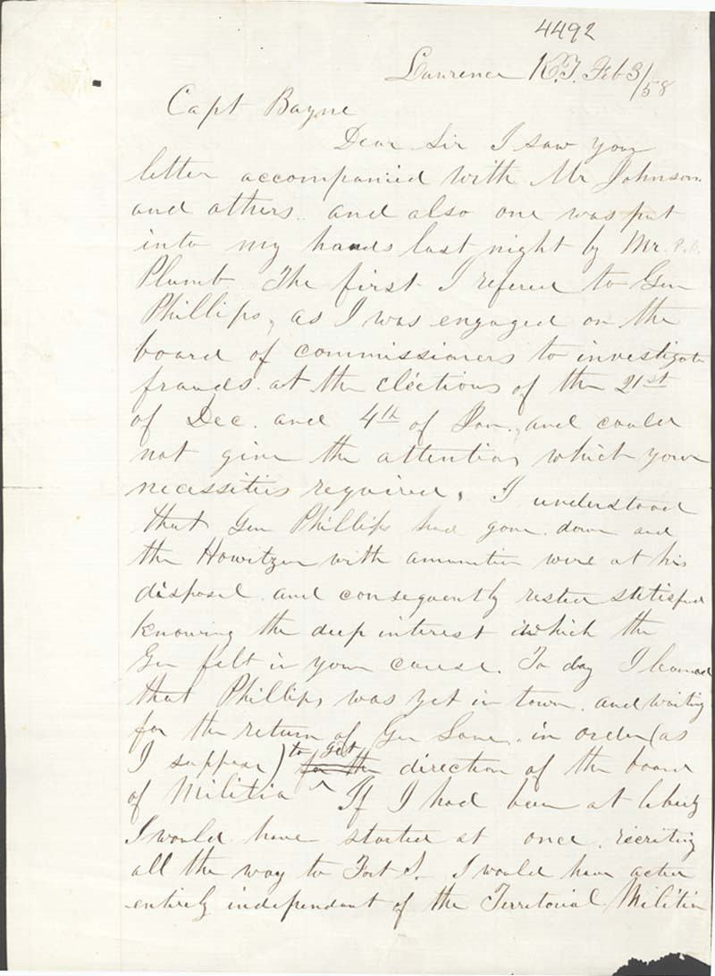 James B. Abbott to O. P. Bayne - p. 1
