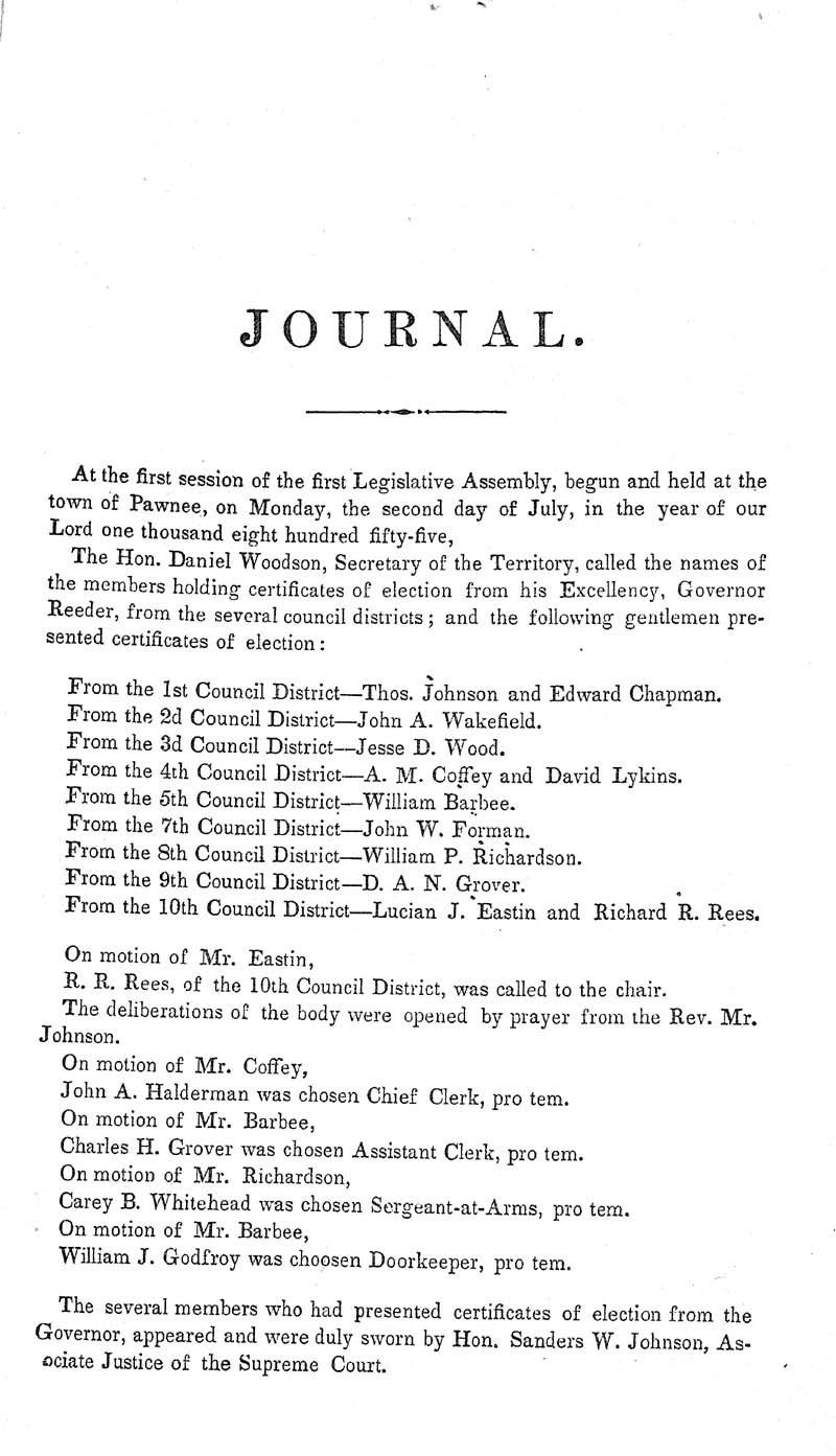 Journal of the Council of the Territory of Kansas, 1855 - p. 3