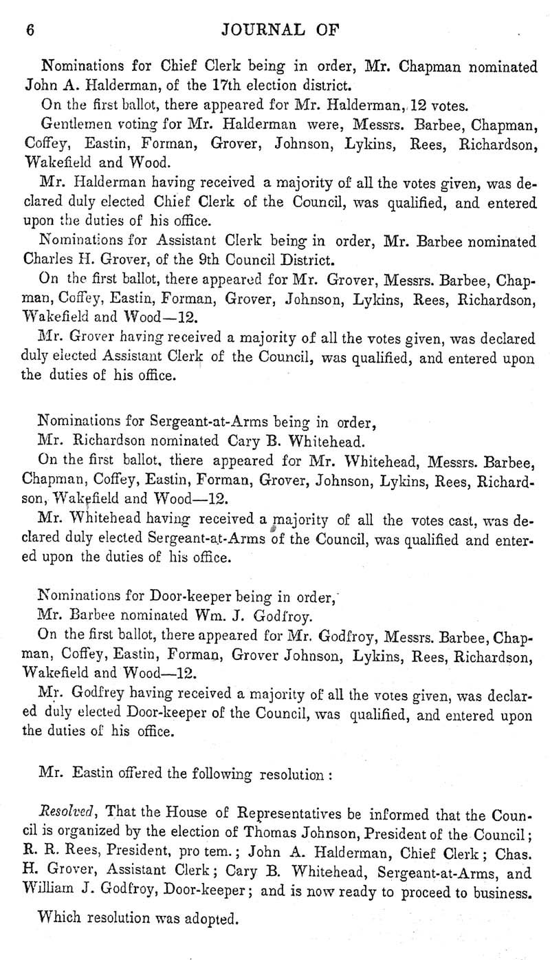 Journal of the Council of the Territory of Kansas, 1855 - p. 6