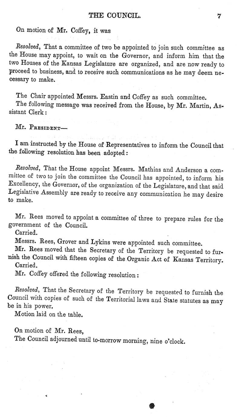 Journal of the Council of the Territory of Kansas, 1855 - p. 7