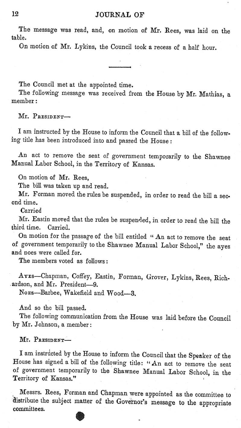 Journal of the Council of the Territory of Kansas, 1855 - p. 12