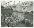 Soldiers leaving a transport ship at the Los Angeles Port Embarkation, Wilmington, California