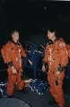 Astronauts Steven A.  Hawley (left) and Gregory J. Harbaugh