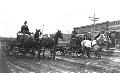 Horse drawn dray wagons in Oakley, Kansas