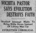 Wichita pastor says evolution destroys faith!
