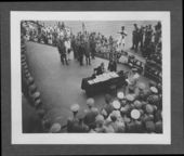 United States and Japanese officials signing the surrender document ending World War II - 8