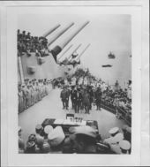 United States and Japanese officials signing the surrender document ending World War II - 10