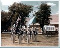 Publicity for Fort Larned, Kansas - Simulated soldiers on parade with flags, Fort Larned, 1957-1960
