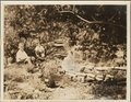 Menninger family - This photograph shows Edwin, Jr., Bob, and Martha at the Oakwood fish pond of Dr. C.F. and Flo Menninger,