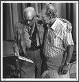 Karl Menninger, M.D., 90th birthday - Dr. Karl and his son Dr. Bob enjoying the birthday celebration.