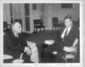 Menninger photograph collection - A photo of Dr. Will Menninger and President John F. Kennedy in the Oval Office, February, 1962.  Envelope 18