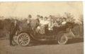 Edwin Boyer cranking his Buick automobile near Grainfield, Kansas