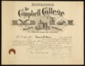 Edward Ray Sloan's diploma from Campbell College