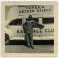 Vern Coffman with Decker Oiler bus, Topeka, Kansas - 1