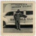 Vern Coffman with Decker Oiler bus, Topeka, Kansas - 1