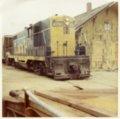 Last Atchison, Topeka & Santa Fe Railway train leaves depot, Harveyville, Kansas
