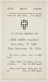 Funeral card for Jose Mora Alcala, Topeka, Kansas