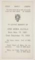 Funeral card for Jose Mora Alcala, Topeka, Kansas - 1