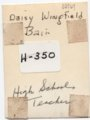 Daisy Bair Wingfield, Lecompton High School teacher, Lecompton, Kansas - back