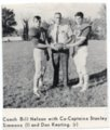 Picture from Yearbook of Football Players Simmons and Keating with Coach Nelson, Lecompton High School - front