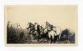 Percherons and farm woman in kaffir field, Butler County, Kansas - front