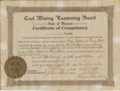 Croweburg mining camp, Crawford County, Kansas - Certificate of Competency, John McAllistar