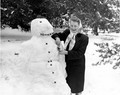 Woman and a snowman