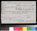 Receipt, John P. Lovell to Thomas W. Higginson