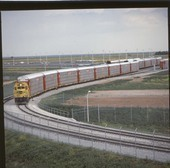 Train with autoveyor cars, Oklahoma City, Oklahoma