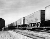 Atchison, Topeka and Santa Fe Railway Company's piggy-back trailers