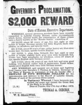 Governor's proclamation, $2,000 reward