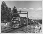 Atchison Topeka & Santa Fe Railway's 1900 class diesel pulling a freight train