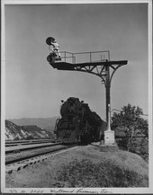 Westbound passenger train In Cajon Pass, California