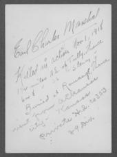 Earl Charles Marshall, World War I soldier
