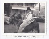 Leo Gannon in a parade, Rossville, Kansas
