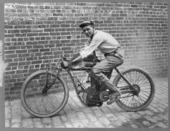 Wells Bennett, on an Indian motorcycle