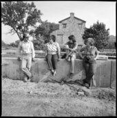 "Installation of ""The Great White Buffalo"" statue, Topeka, Kansas"