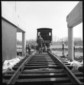 Moving the Cyrus K. Holliday train into the museum, Topeka, Kansas