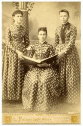 Three unidentified women in Alma, Kansas