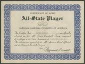 All-State team semi-pro baseball certificate