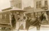 Horse drawn streetcar in Strong City, Kansas